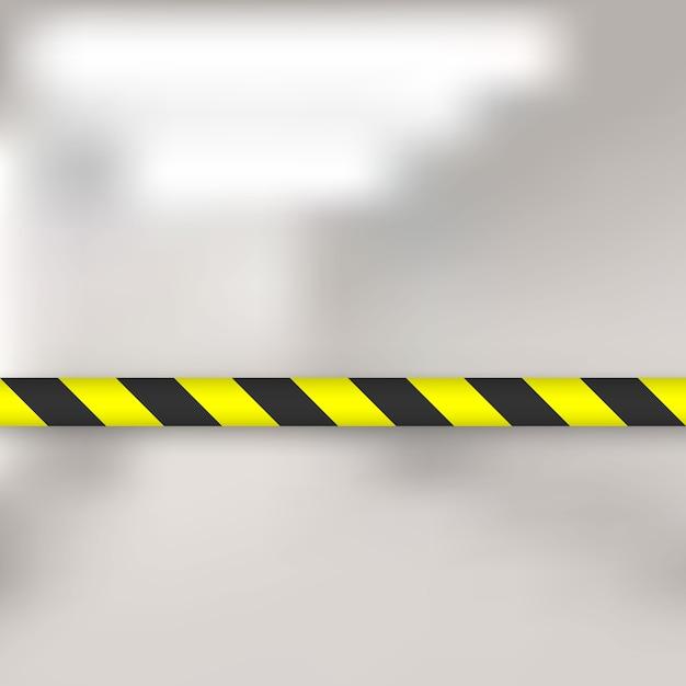 Linhas amarelas e pretas de fita de barreira. cerco de pólo de fita de advertência é protege para nenhuma entrada Vetor Premium