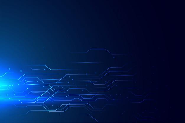 Linhas brilhantes de diagrama de circuito de tecnologia azul Vetor grátis