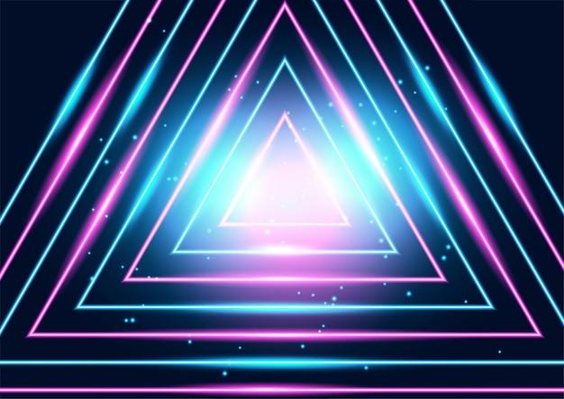Linhas brilhantes de néon techno, oi-tech futurista abstrato Vetor Premium