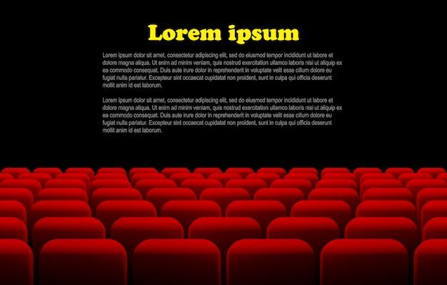 Linhas de assentos vermelhos de cinema ou teatro Vetor Premium
