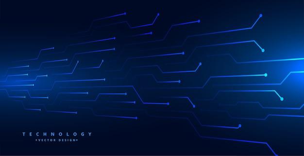 Linhas de circuito de tecnologia digital malha design de fundo azul Vetor grátis
