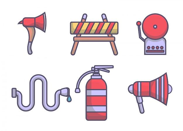 Linhas de conjunto de elemento de bombeiros de ícone Vetor Premium