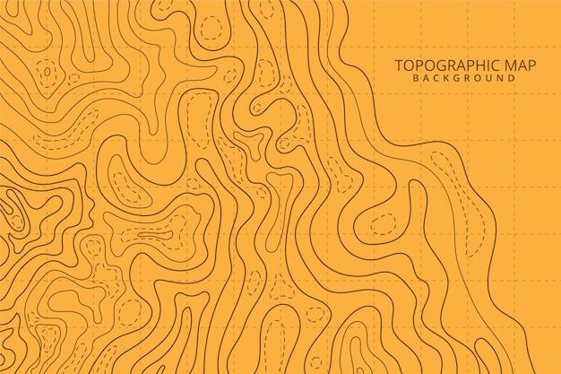 Linhas de contorno do mapa topográfico tons de laranja Vetor grátis