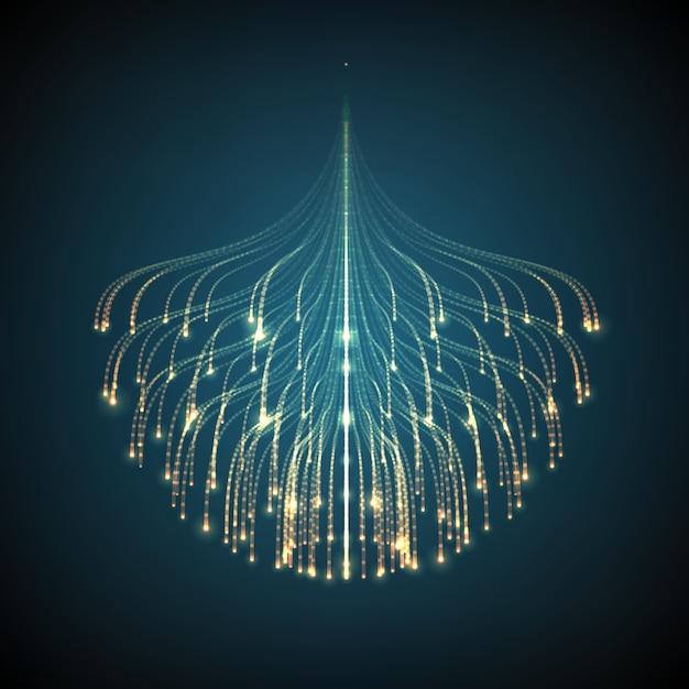 Linhas de incandescência abstratas fundo da malha. bioluminescência de tentáculos. cartão de estilo futurista. Vetor grátis