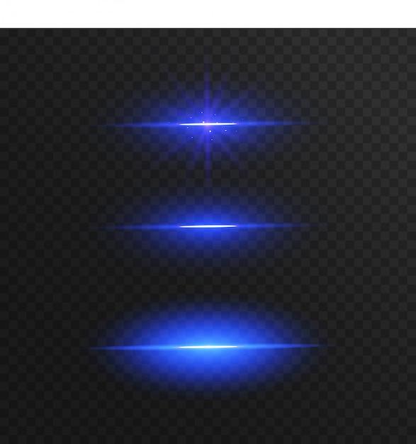 Linhas de luz azuis abstratas isoladas em fundo transparente Vetor Premium