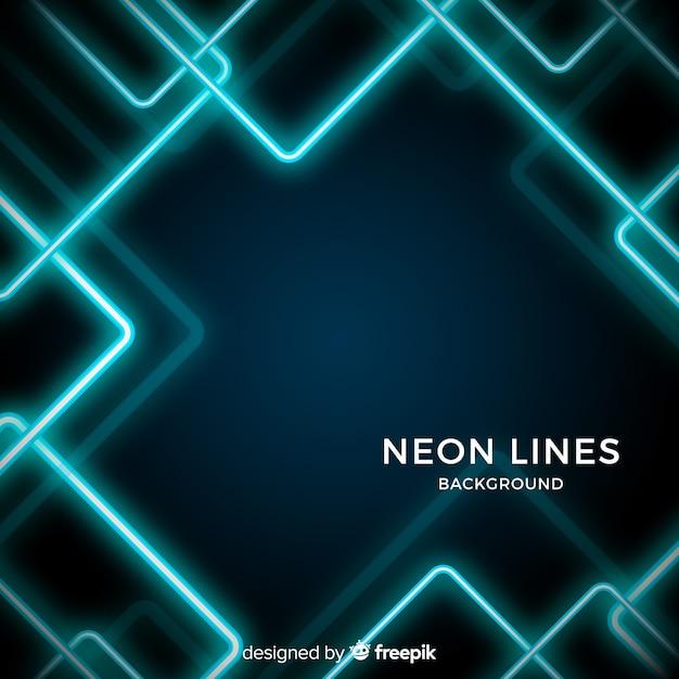 Linhas de néon abstratas fundo escuro Vetor grátis