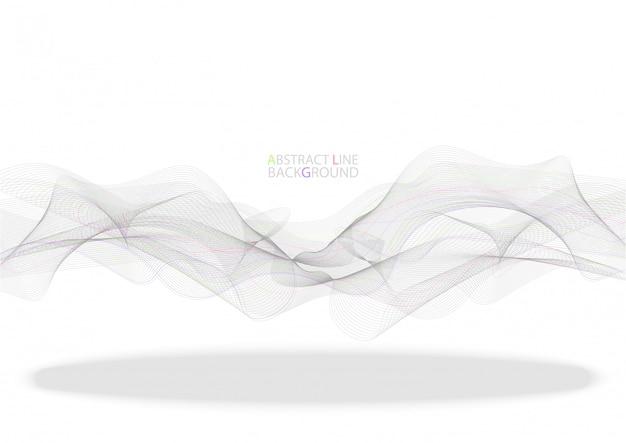Linhas de onda colorida abstrata fluindo isoladas no fundo preto Vetor Premium