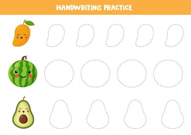 Linhas de rastreamento com manga kawaii bonito, melancia, abacate. prática de caligrafia para crianças. trace os contornos. praticando habilidades de escrita. Vetor Premium