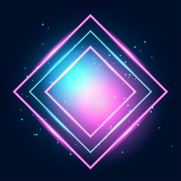 Linhas de techno brilhante de néon, oi-tech futurista abstrato Vetor Premium