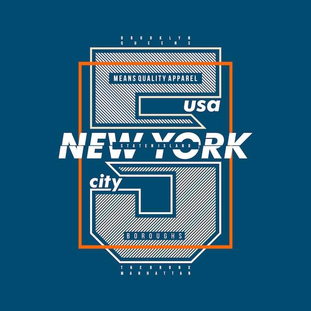 Linhas de tipografia gráfica de cidade de nova york Vetor Premium