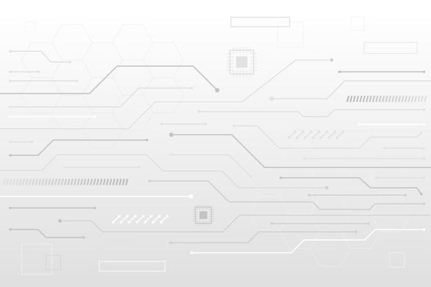 Linhas de transistor branco fundo de tecnologia Vetor Premium