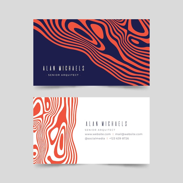 Linhas distorcidas vermelhas assimétricas cartões de visitas Vetor grátis