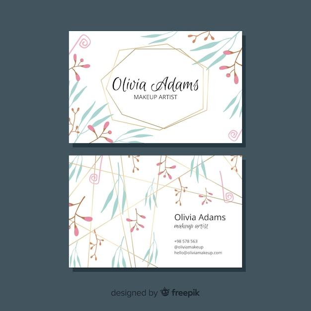 Linhas douradas com conceito de tema floral para cartão de visita Vetor grátis