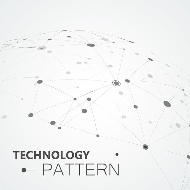 Linhas e pontos compostos, ciência conectada Vetor Premium