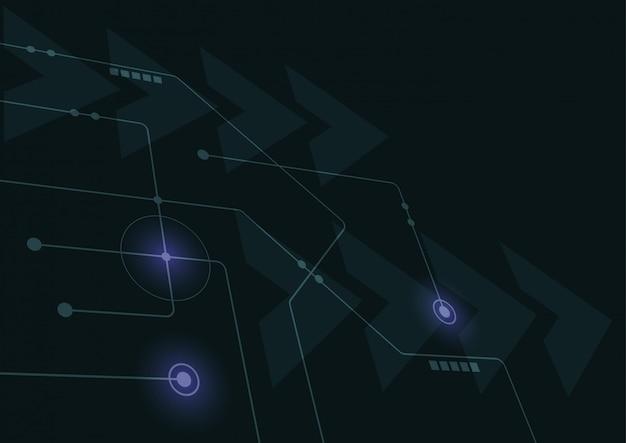 Linhas e pontos geométricos abstratos de conexão fundo gráfico da tecnologia simples. Vetor Premium