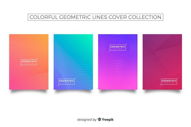Linhas geométricas coloridas cobrem coleção Vetor grátis