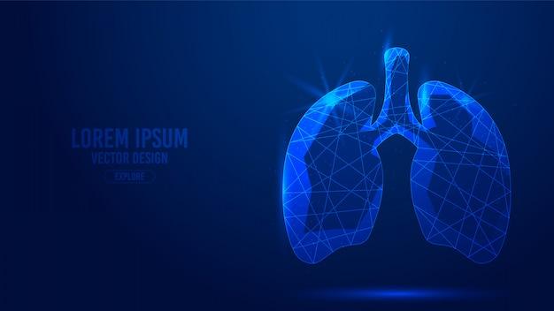Linhas geométricas humanas de órgão interno de pulmões, wireframe de estilo de triângulos de baixo polígono Vetor Premium