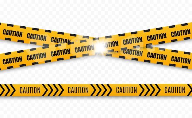 Linhas isoladas. fitas de advertência. cuidado. sinais de perigo. Vetor Premium