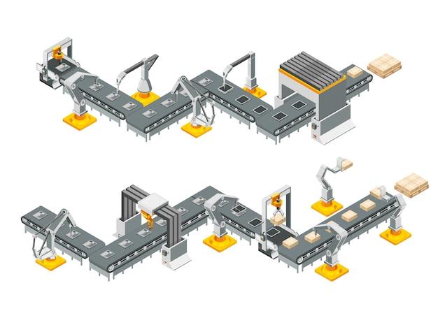 Linhas transportadoras de fábrica automática com braços robóticos. processo de montagem. ilustração Vetor Premium