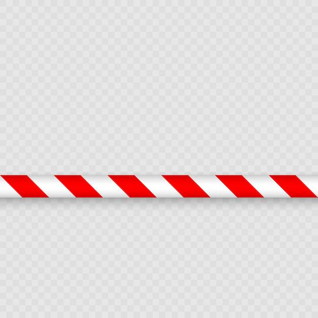 Linhas vermelhas e brancas de fita de barreira. cerco de pólo de fita de advertência é protege para nenhuma entrada Vetor Premium