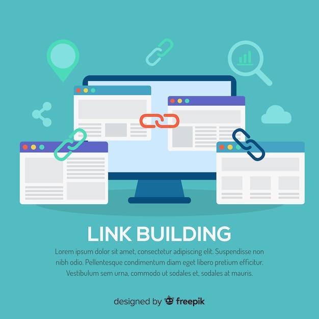 Link building concept Vetor grátis