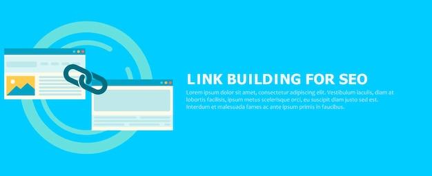 Link building para seo banner. duas páginas estão conectadas por uma corrente. Vetor grátis
