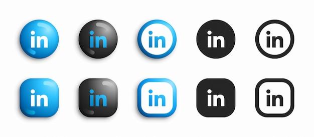 Linkedin 3d moderno e conjunto de ícones plana Vetor Premium