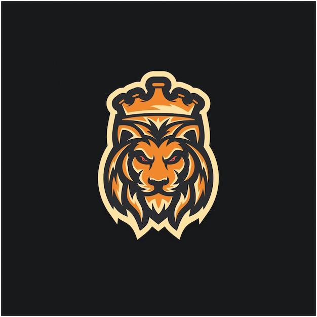 Lion king logo conceito Vetor Premium