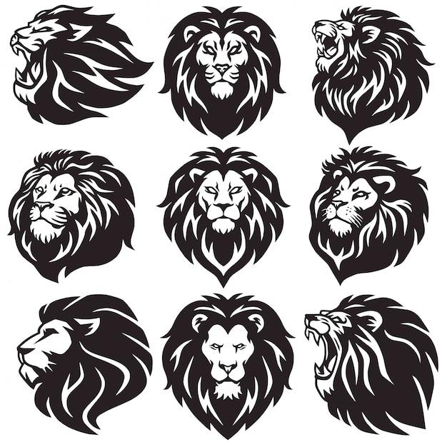 Lion logo set coleção package icon Vetor Premium