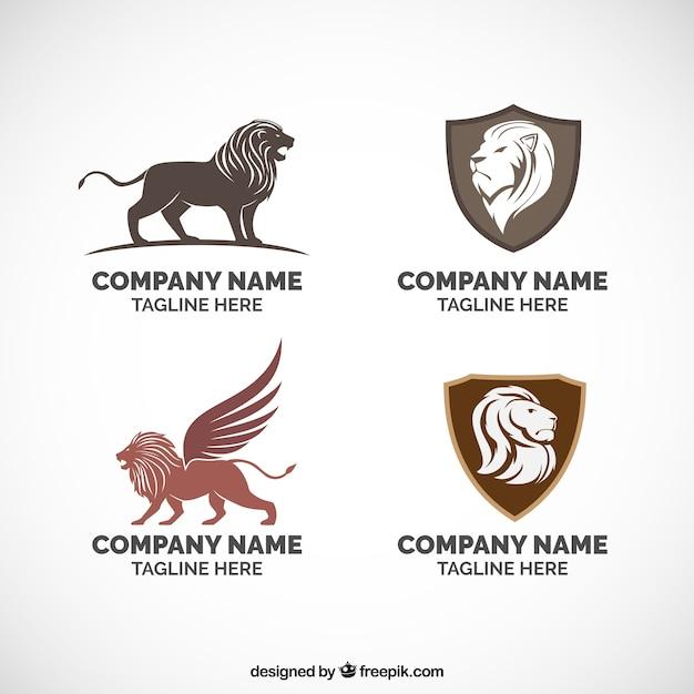 Lion logos, quatro diferentes Vetor Premium