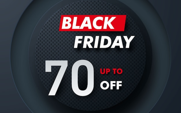 Liquidação de sexta-feira negra com camada em formato de círculo moderno Vetor Premium