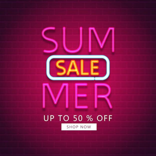 Liquidação de verão. venda de verão com efeito néon Vetor Premium