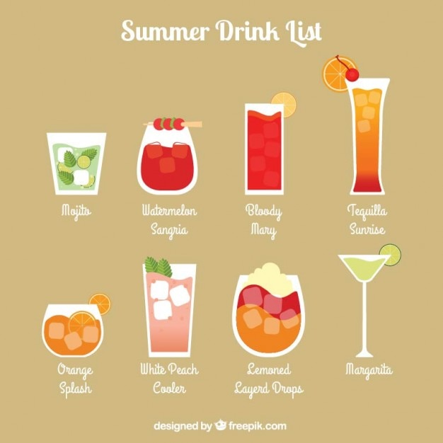 Lista bebida refrescante do verão Vetor Premium