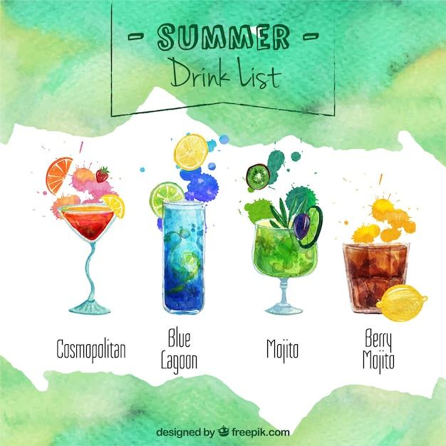 Lista de bebida do verão Vetor grátis