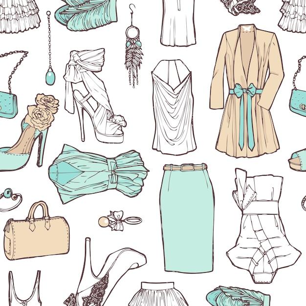 Lista de compras em imagens. padrão de roupas femininas em um estilo romântico para o trabalho e o descanso. padrão elegante. Vetor grátis