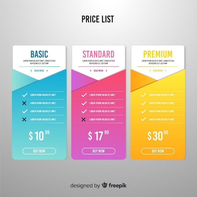 Lista de preços plana Vetor grátis