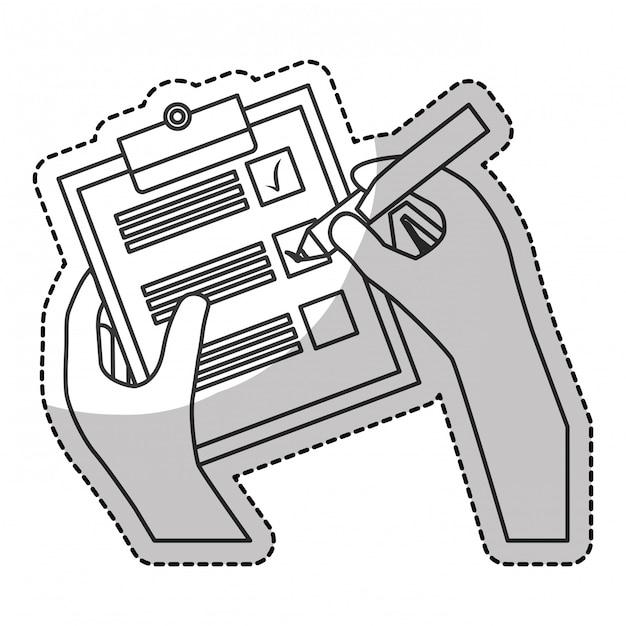 Lista de verificação com marca de seleção Vetor Premium