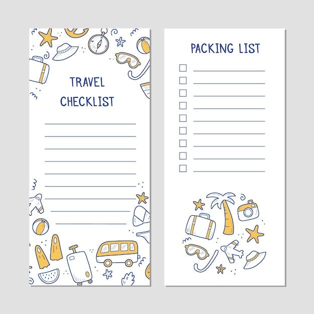 Lista de verificação desenhada à mão de elementos de viagens de férias de verão Vetor Premium