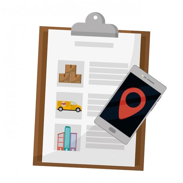 Lista de verificação e celular Vetor Premium