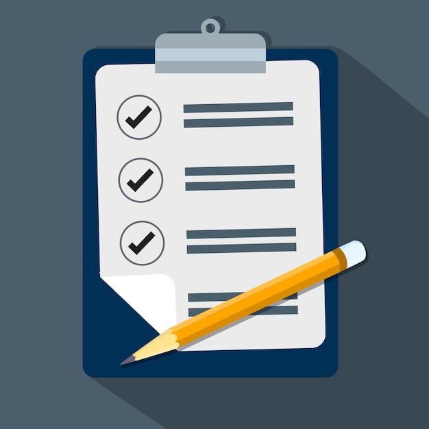 Lista de verificação e lápis-vector design plano Vetor Premium