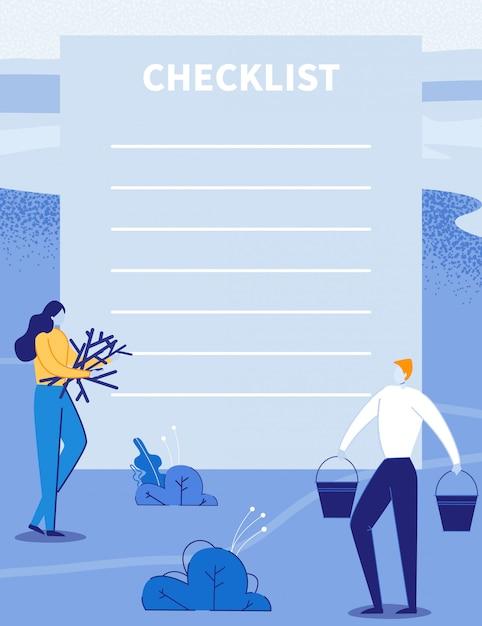 Lista de verificação, planejador de viagem com casal de viagens. Vetor Premium