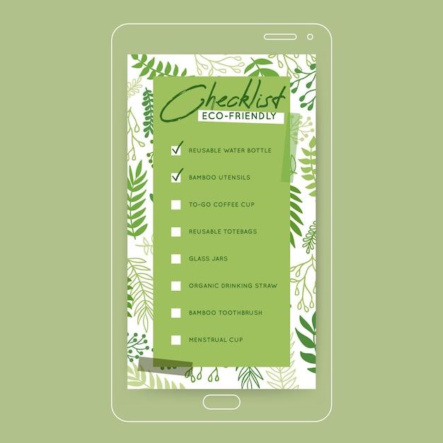 Lista de verificação verde história do instagram Vetor grátis