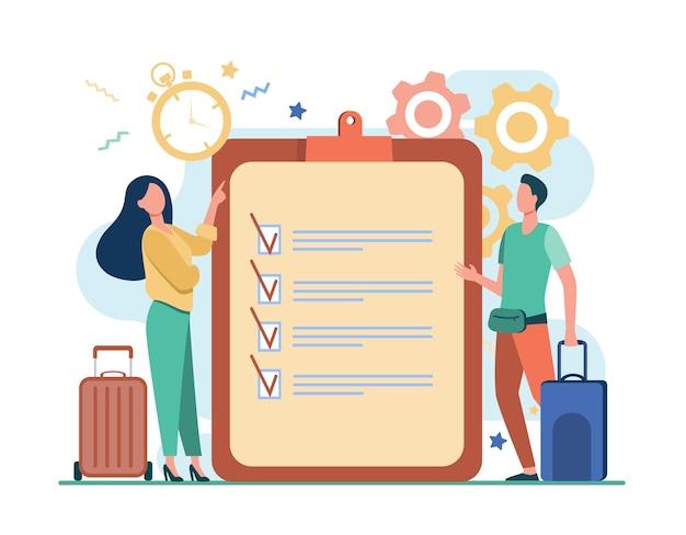 Lista de viagem. homem e mulher com malas em pé na lista de verificação e ilustração plana do temporizador. Vetor grátis