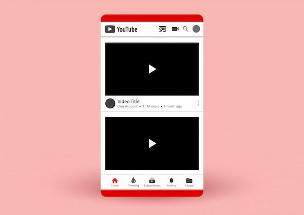 Lista de vídeos do youtube Vetor Premium