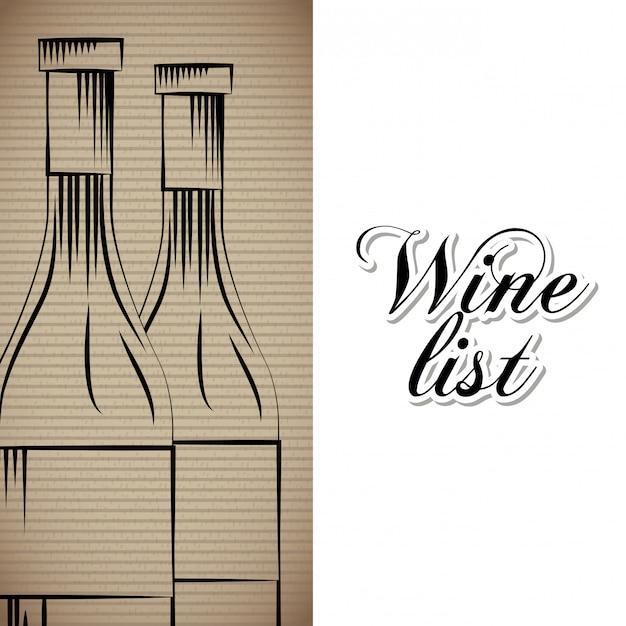 Lista de vinhos bebida cartão Vetor Premium