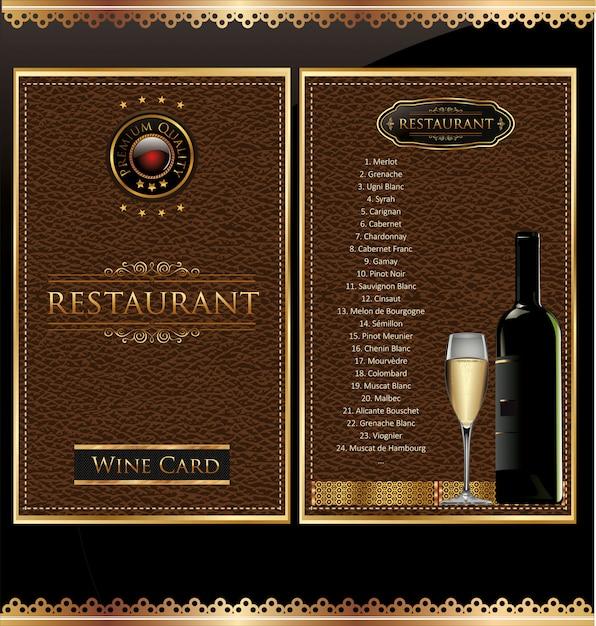 Lista de vinhos Vetor Premium