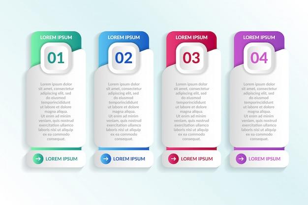 Lista infográfico design com 4 informações de listas Vetor Premium