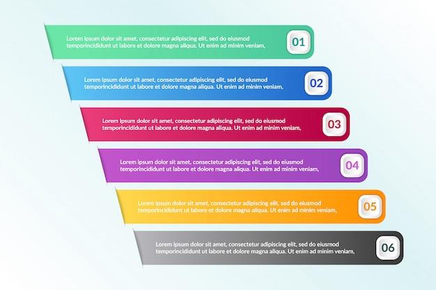 Lista infográfico design com 6 informações de listas Vetor Premium