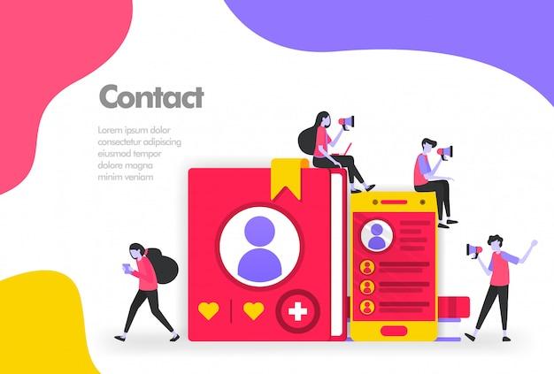 Listas de contatos em livros e banner para dispositivos móveis Vetor Premium
