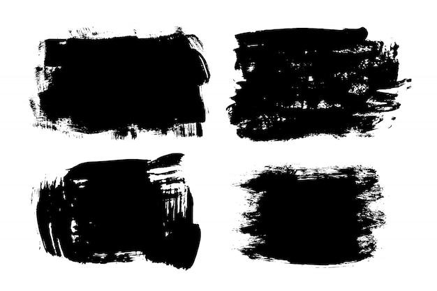 Listra de pincel de mão desenhada grunge. tinta preta de vetor Vetor Premium